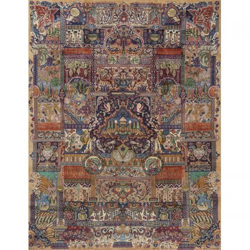 Traditional Old Hand-woven Persian Kashmar Rug 9.8 x 12.8