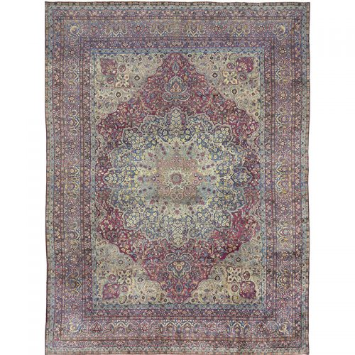 Traditional Hand-woven Persian Kerman Masterpiece Rug 10.3 x 13.9