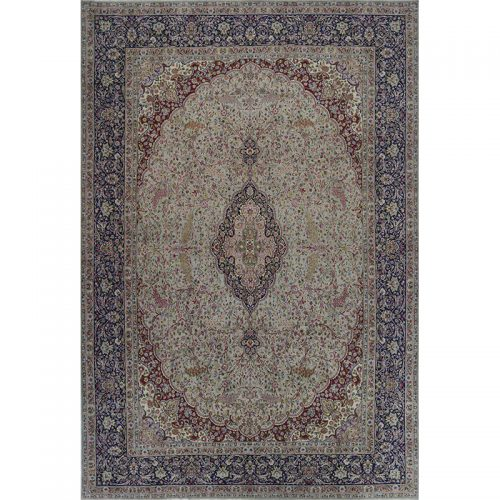 Vintage Traditional Hand-woven Persian Kerman Rug 12.6 x 18.7