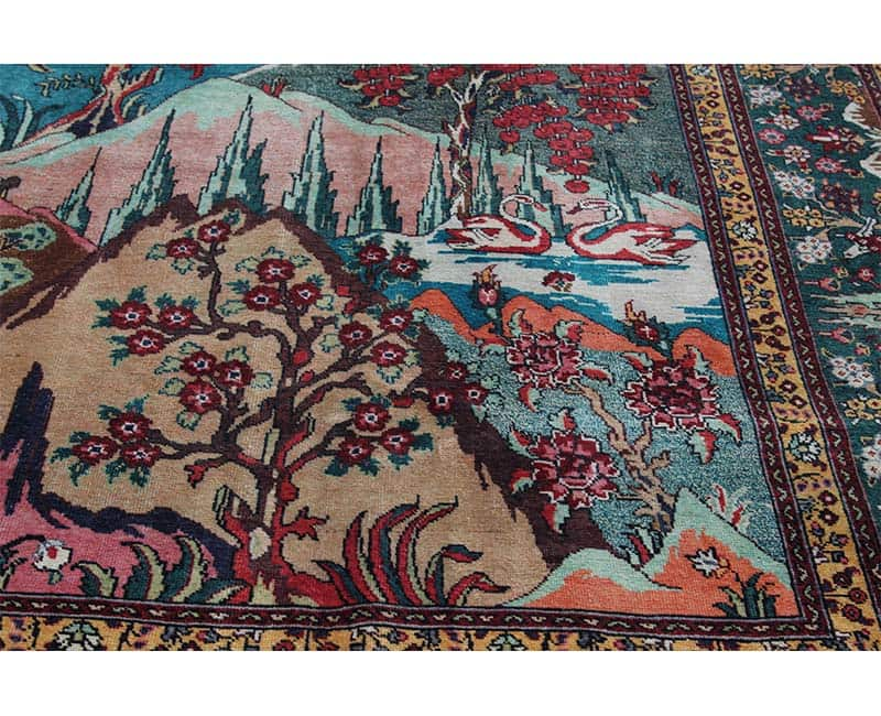 A110549 Traditional Old Handwoven Persian Tabriz Rug 9
