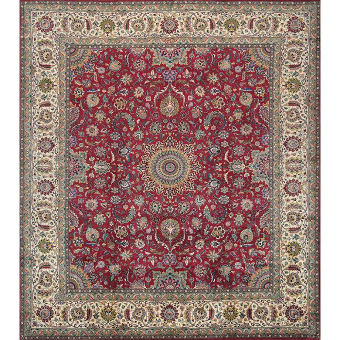 110540 - Persian Tabriz Area Rug - 9.7x11.0 - Red / Ivory