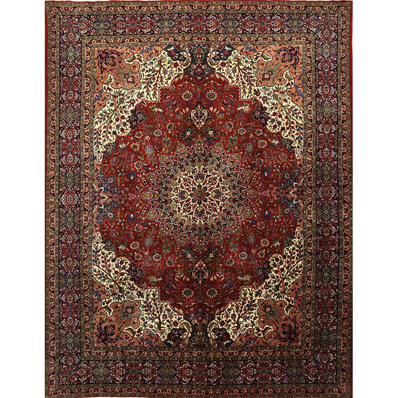 Old Handwoven Persian Tabriz Area Rug 10.1x12.10