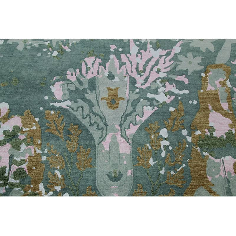 Contemporary Transitional Hand Woven Indo Ikat Rug 9 1 X