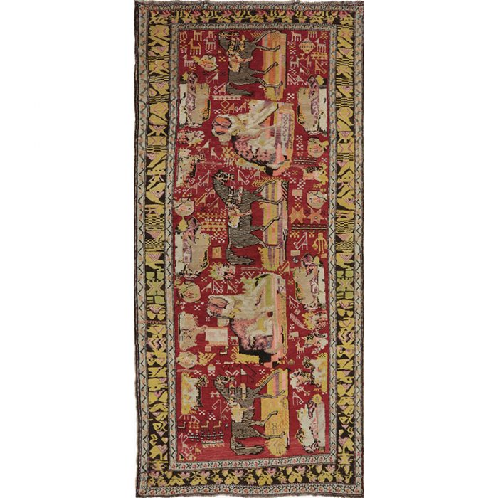 Antique Russian Area Rug 4.3x9.3 - A110408