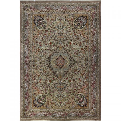 Hand Woven Old Masterpiece Persian Tabriz Silk and Wool Area Rug - 13.1 X 19.10 Multi