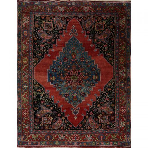 Persian Bijar Area Rug - 4.1 X 5.2 Rust - 109071