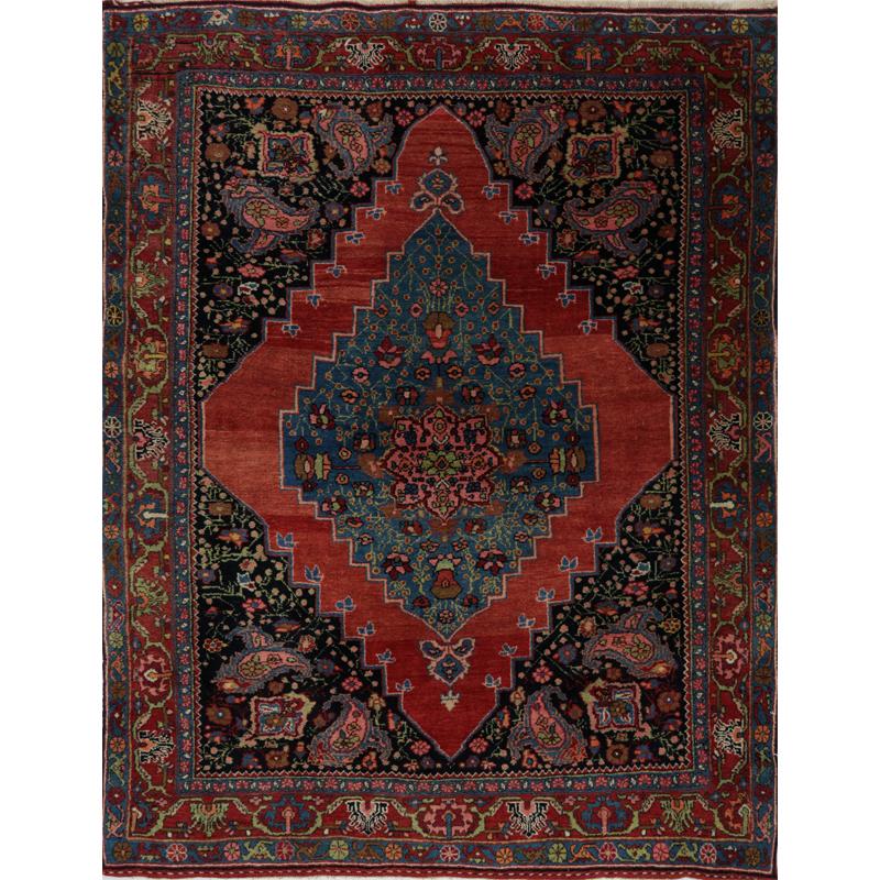 Persian Bijar Area Rug - 4.1 X 5.2 Rust - 109071