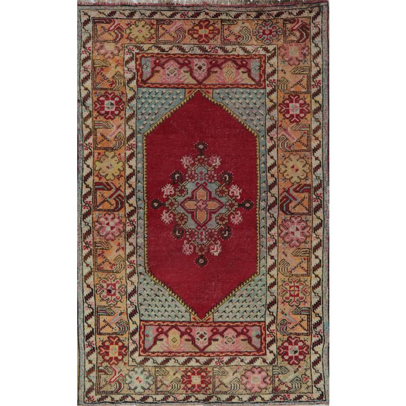 Antique Turkish Oushak Area Rug 3.4x5.5 - A109072