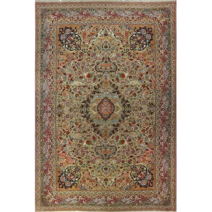 A109352- Old Handwoven Masterpiece Persian Tabriz Silk and Wool Area Rug 13.1×19.10