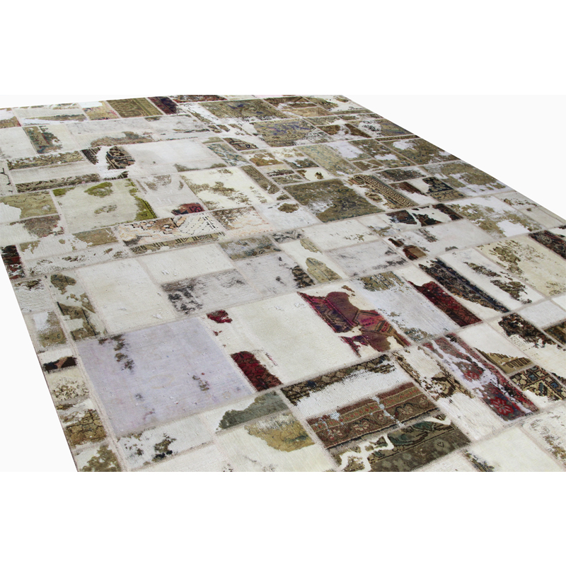 Vintage Distressed Overdyed Persian Patchwork Rug 10 6 X