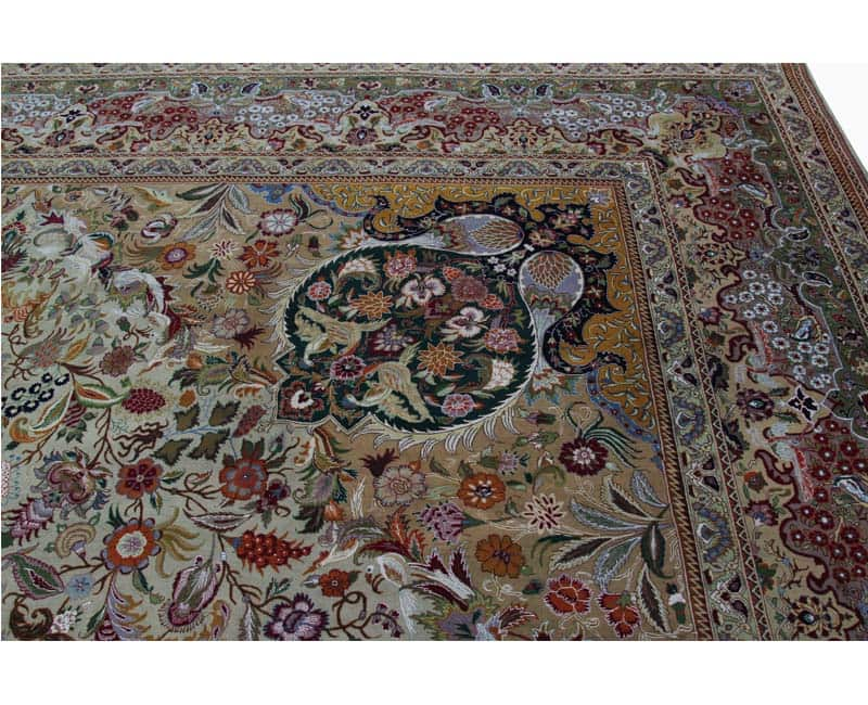 A109352 Old Handwoven Masterpiece Persian Tabriz Silk And