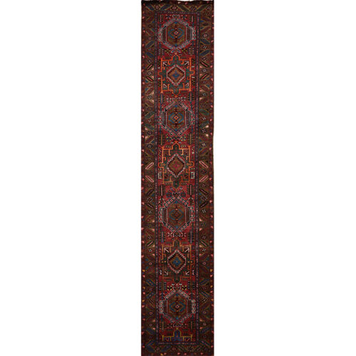 Old Persian Heriz Area Rug 2.10x14.5 - A110277