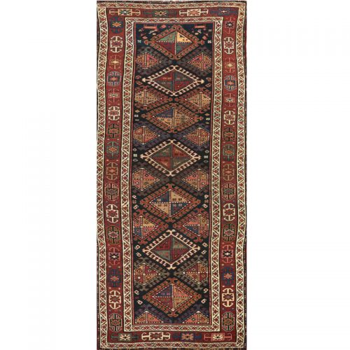 Antique Russian Kazak Runner Rug 4.1x12.8 - 109076