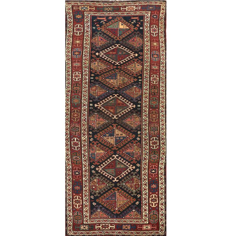 Antique Russian Kazak Runner Rug 4.1x12.8 - 109076