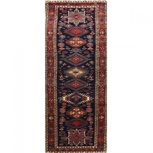 Old Persian Heriz Area Rug 3.5x13.4 - A110318