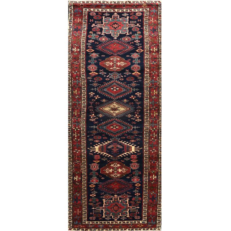 Old Persian Heriz Area Rug 3.5x13.4 - A110318