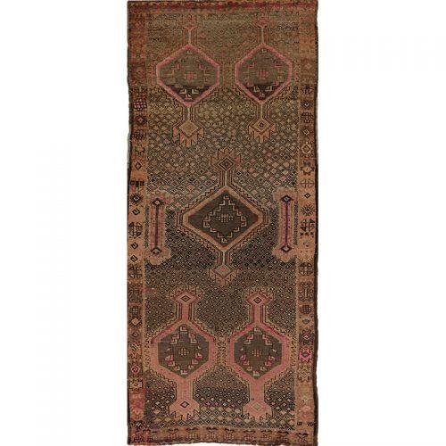 "4'2"" x 10'3"" Old Persian Shiraz Rug - 110581"