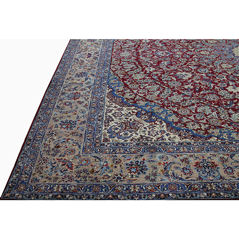 A110618 Old Handwoven Persian Yazd Area Rug 14 9x15 3