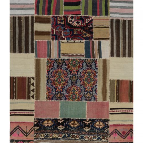 Vintage Distressed Patchwork Persian Area Rug 5.0 x 5.8 - 109091