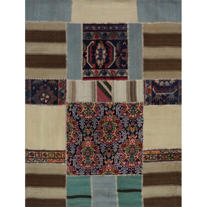 Vintage Distressed Patchwork Persian Area Rug 4.3 x 5.8 - 109092