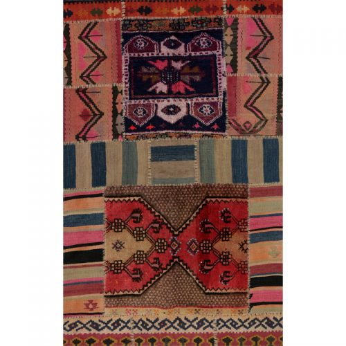 Vintage Distressed Patchwork Persian Area Rug 3.5 x 5.5 - 109100