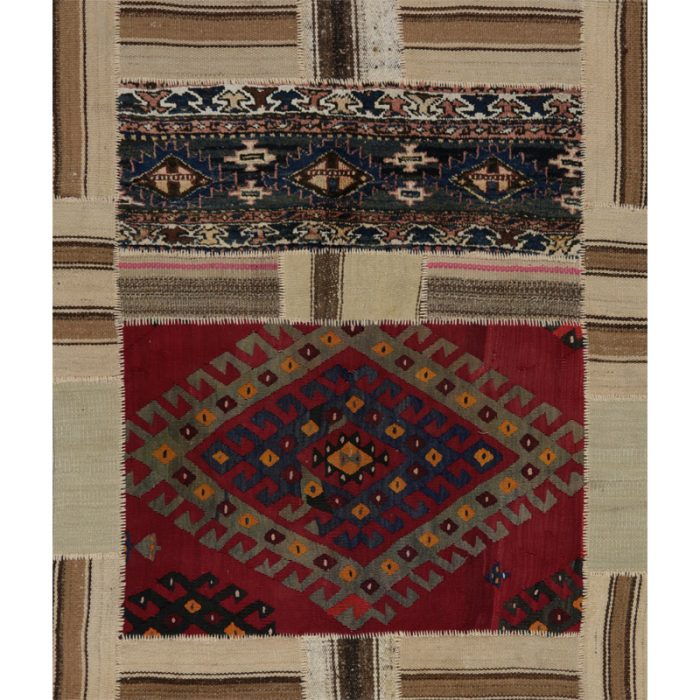 Vintage Distressed Patchwork Persian Area Rug 4.3 x 4.11 - 109190