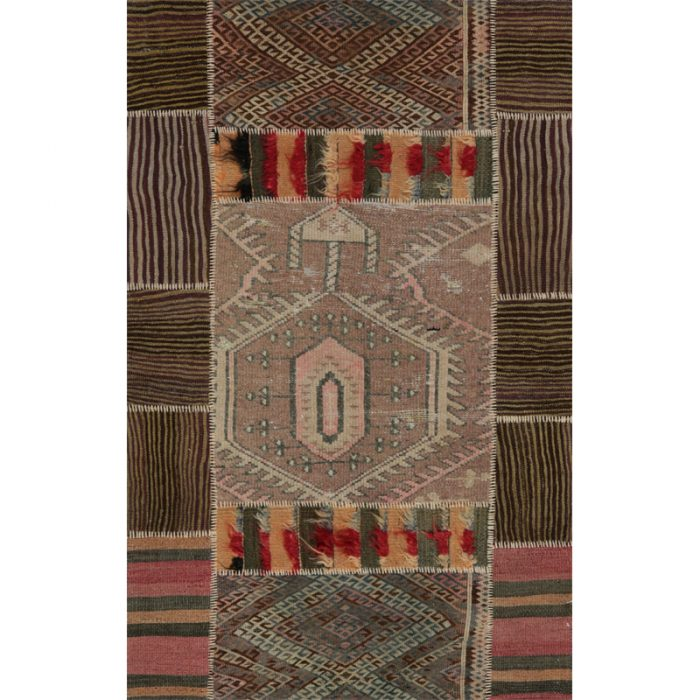 Vintage Distressed Patchwork Persian Area Rug 3.4 x 5.2 - 109192