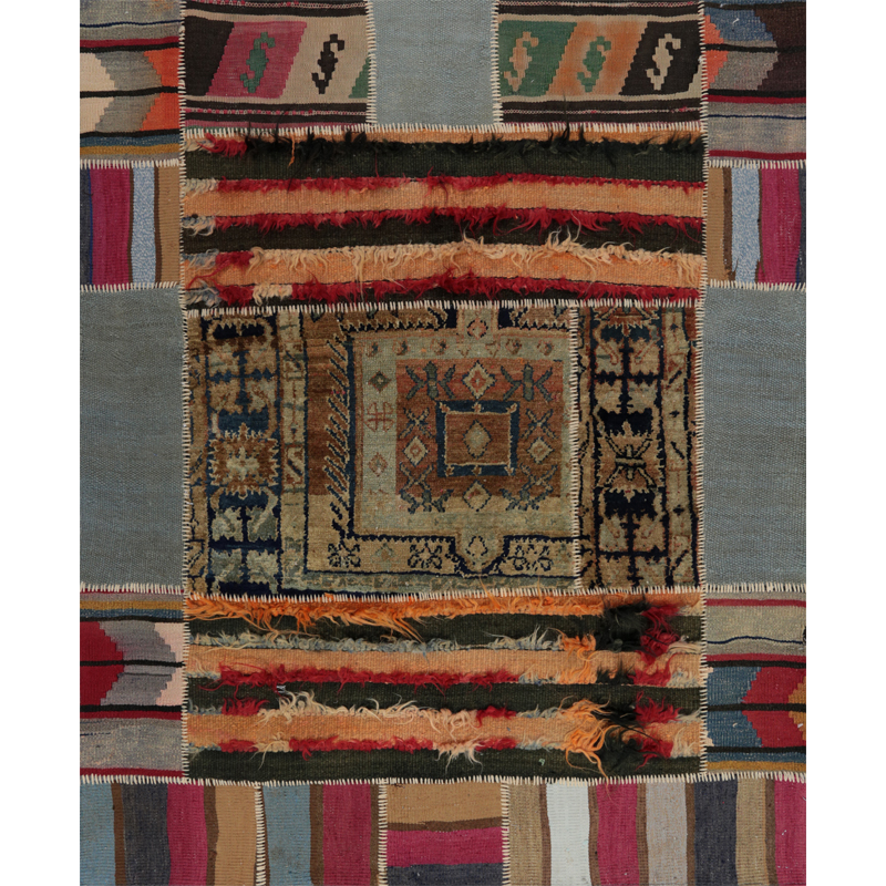 Vintage Distressed Patchwork Persian Area Rug 4.2 x 5.1 - 109083