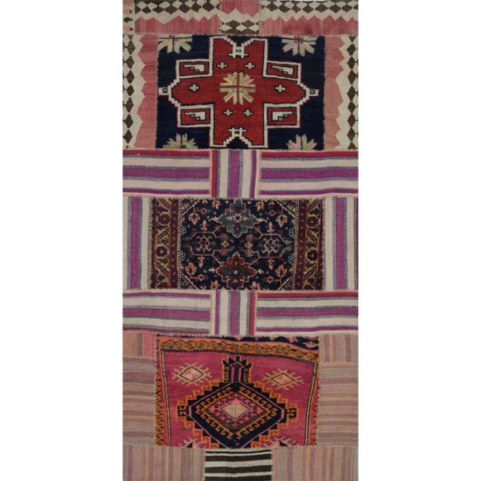 Vintage Distressed Patchwork Persian Area Rug 4.0 x 8.4 - 109086