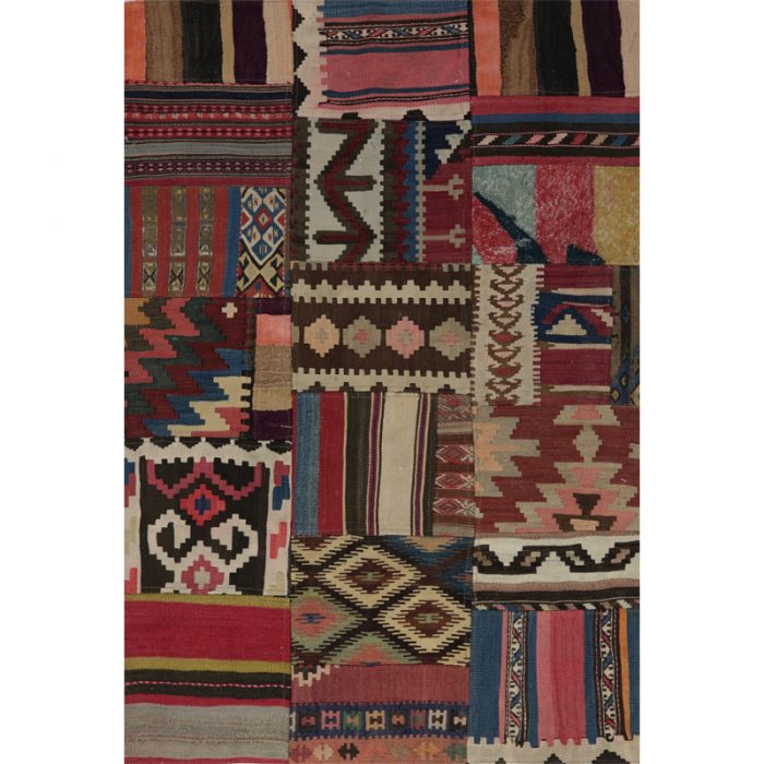 Vintage Distressed Patchwork Persian Area Rug 3.8 x 5.5 - 109088