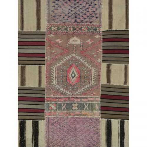 Vintage Distressed Patchwork Persian Area Rug 4.8 x 6.3 - 109089