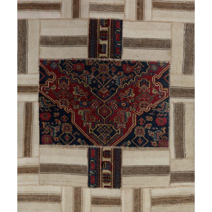 Vintage Distressed Patchwork Persian Area Rug 4.4 x 5.3 - 109102