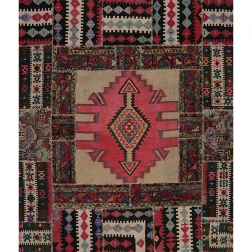 Vintage Distressed Patchwork Persian Area Rug 5.1 x 6.8 - 109177