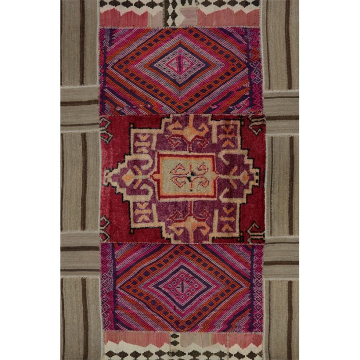 Vintage Distressed Patchwork Persian Area Rug  4.10 x 7.4 - 109179