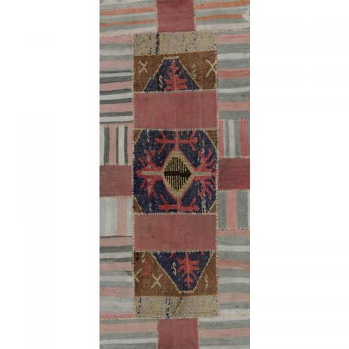 Vintage Distressed Patchwork Persian Area Rug  2.10 x 6.9 - 109139