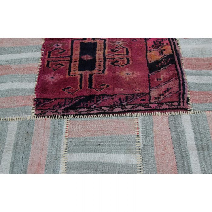 Vintage Distressed Patchwork Persian Area Rug  3.0 x 7.0 - 109144