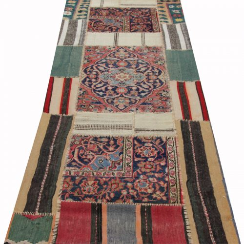 Vintage Distressed Patchwork Persian Area Rug  2.10 x 7.10 - 109178