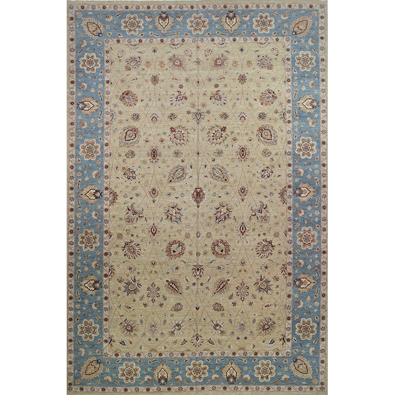 Traditional Handwoven Indian Agra Rug 12.1x18.3