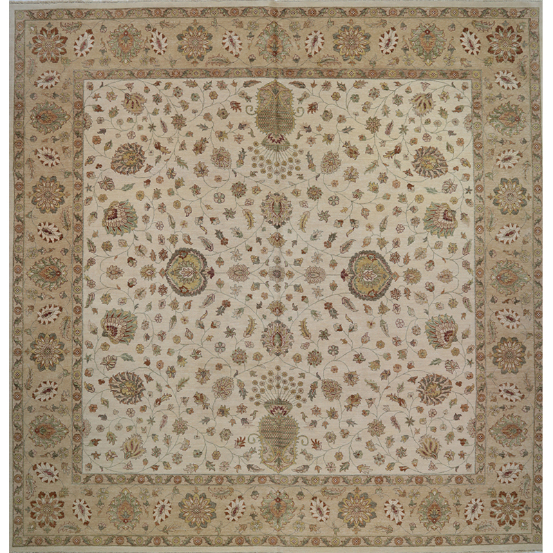 Traditional Handwoven Indian Agra Rug 13.10x14.0