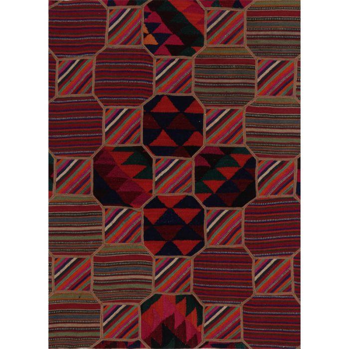 Vintage Patchwork Area Rug 3.4x4.7 - E109396