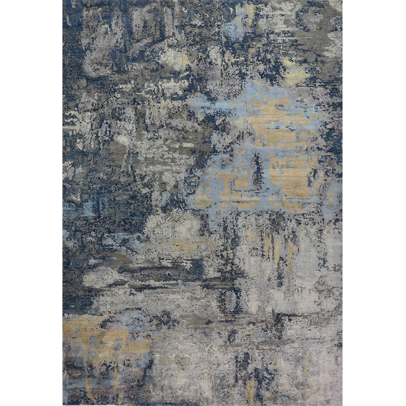 A501186 - Contemporary Handwoven Abstract Wool And Silk Area Rug 10.0x14.1