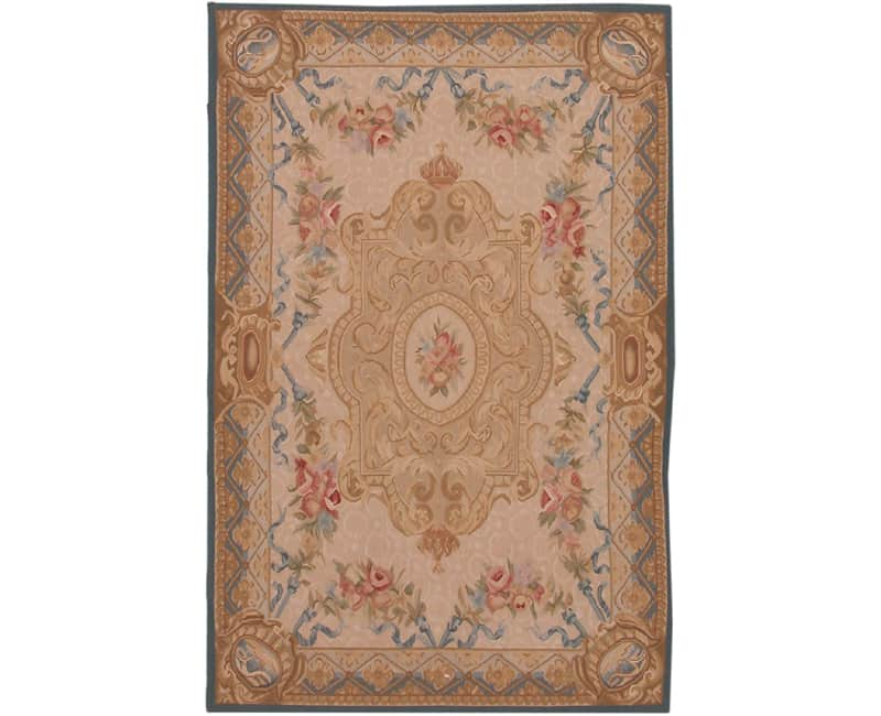 French Aubusson Style Area Rug 4.0×6.0 – 105122