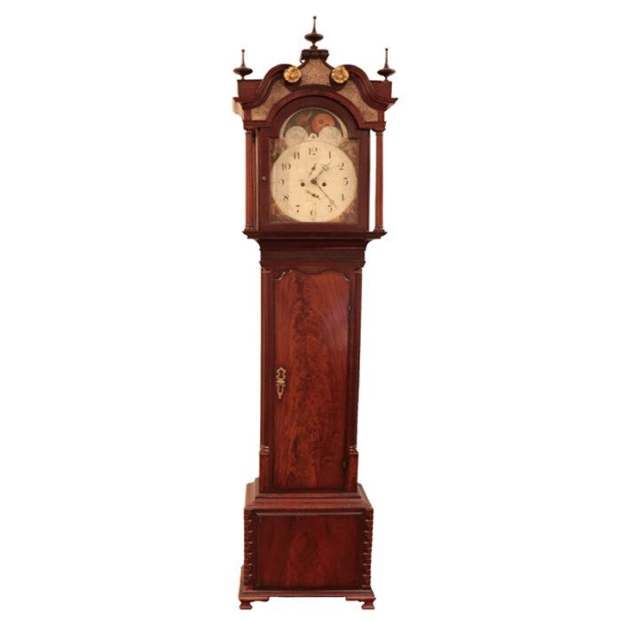 Antique English Mahogany Grandfather Clock - RenID 4356