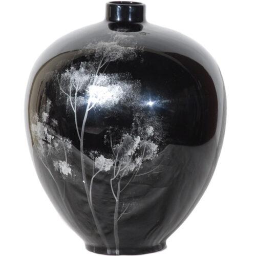 Modern Black Lacquered Ceramic Vase - RenID 4102