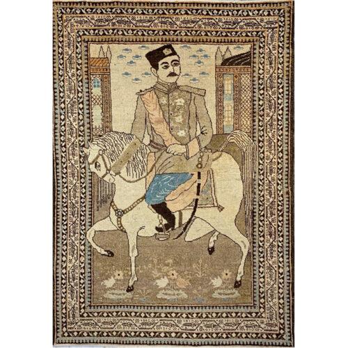 "3'9"" x 5'4"" Antique Persian Tabriz Rug - 109070"