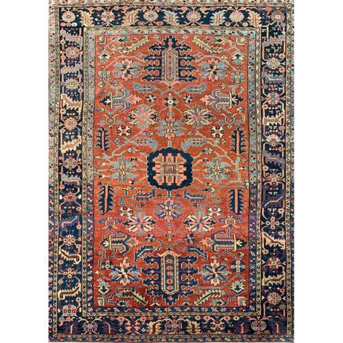 8x11 Antique Persian Heriz Area Rug - 111016
