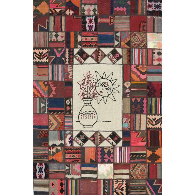 6x9 Vintage Persian Patchwork Rug - 110108
