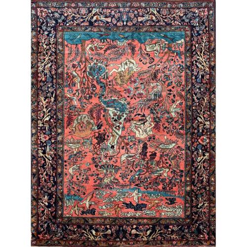 5x7 Antique Persian Sarough Area Rug - 501563