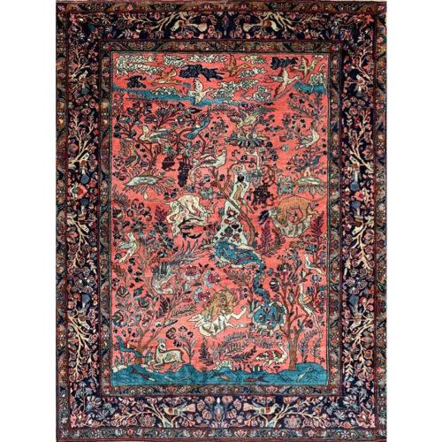 5'4″ x 7'2″ Antique Persian Sarough Area Rug – 501563