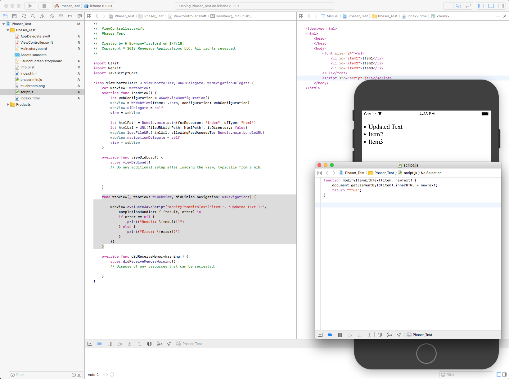 Modifying the HTML with an outside JavaScript file